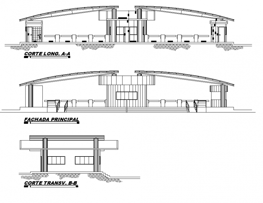Detail toll-tax building elevation 2d view layout autocad file