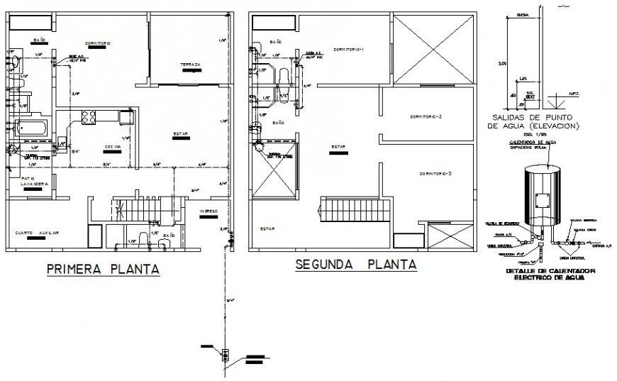 Detail work plan of housing unit drawing in autocad