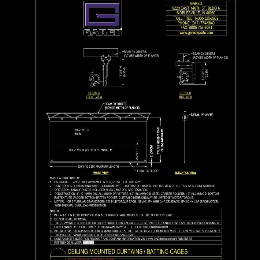 Detailing Ceiling mounted curtains and batting cages dwg file