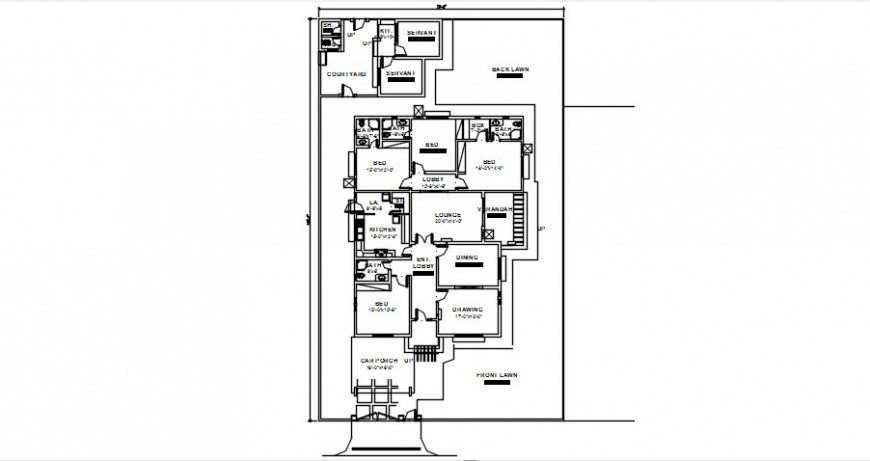 Detailing of house 2d view CAD layout plan dwg autocad file