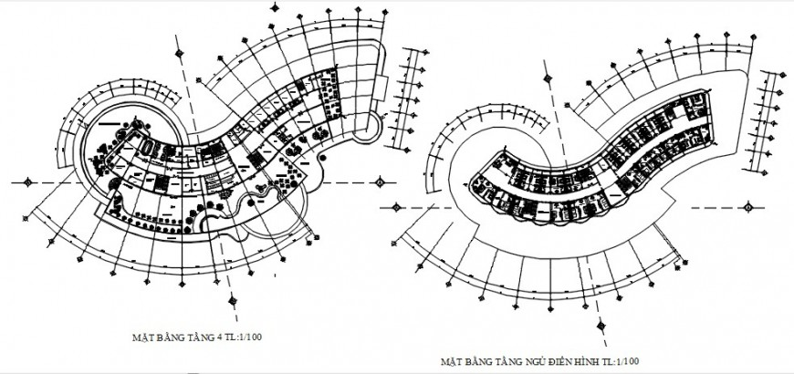 Detailing of resort building floor plan autocad software file