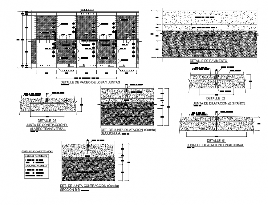 Details of box of contraction and transverse passage of sanitation paving project dwg file