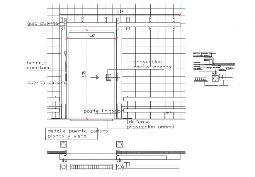 details of door camera plant and view cad drawing dwg file