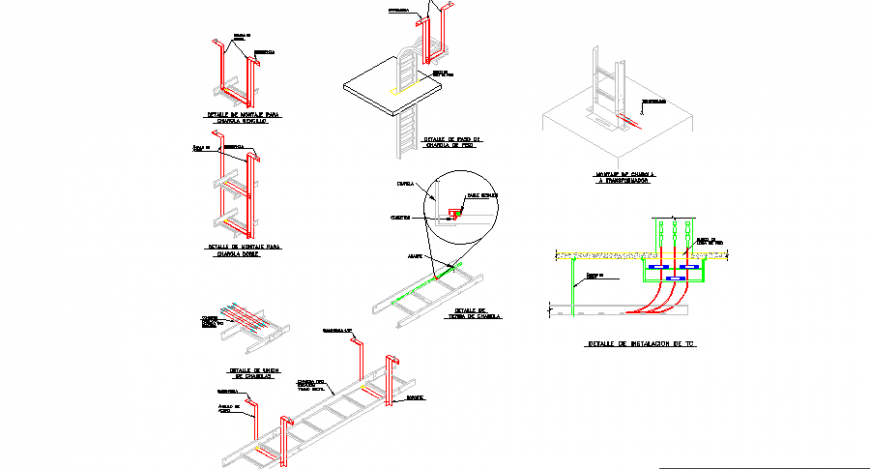 Details of mounting of tray sport park cad drawing details dwg file