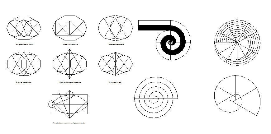 Details of multiple civil engineer circles drawing dwg file