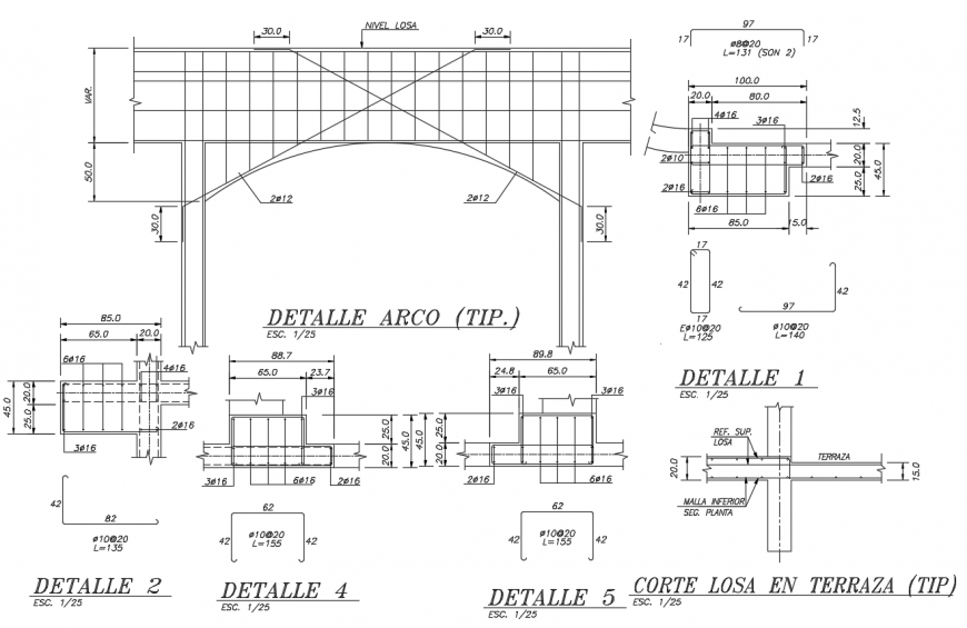 Details structure armed concrete with different detail view dwg file