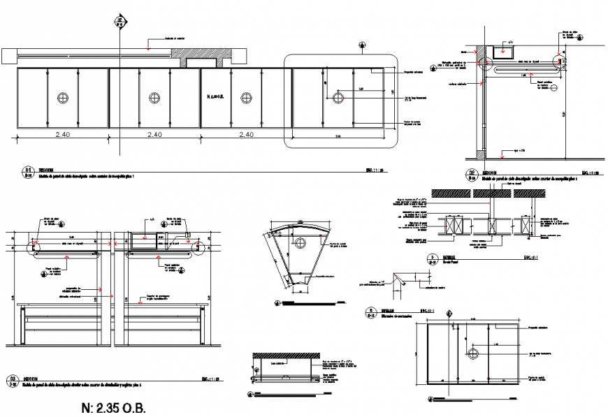 Details suspended ceiling section plan layout file