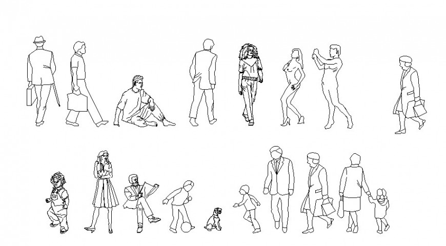 Different act posing people block cad drawing details dwg file