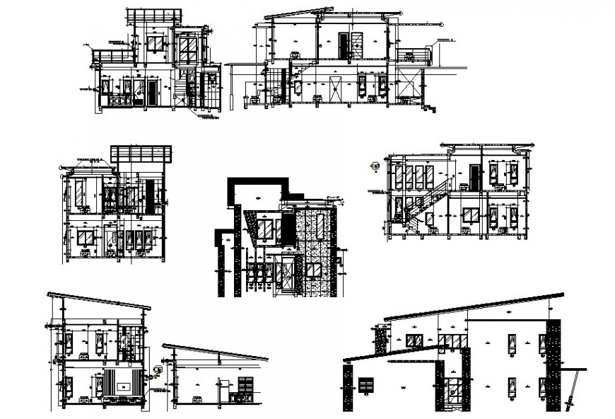 Different axis elevation and section view of housing area in auto cad file