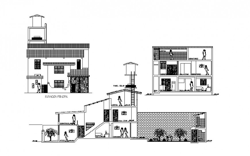 Different axis elevation of residential area design of architectural work dwg file