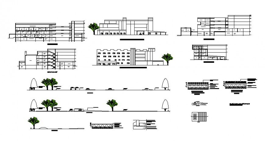 Different axis section and elevation of hospital in auto cad software