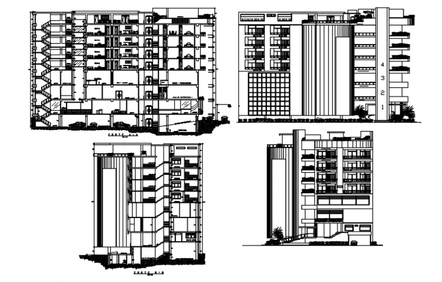 Different axis sectional elevation of hotel in auto cad file