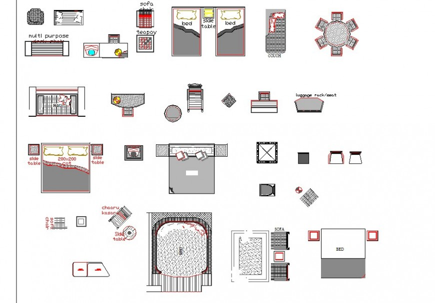 Different bedroom furniture blocks layout file in autocad format