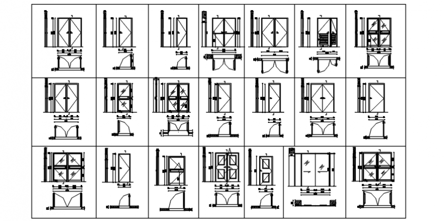 Different block of door and window in auto cad file