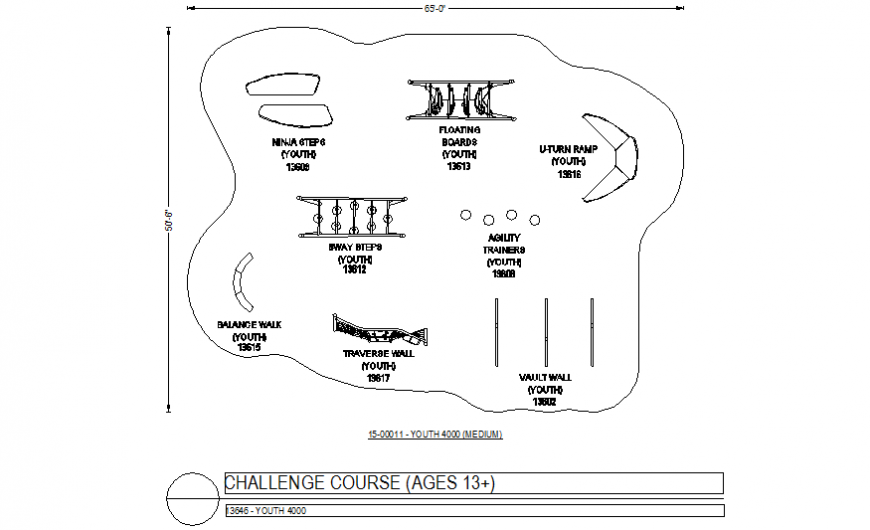 Different challenge course design with its plan with its equipment in design dwg file