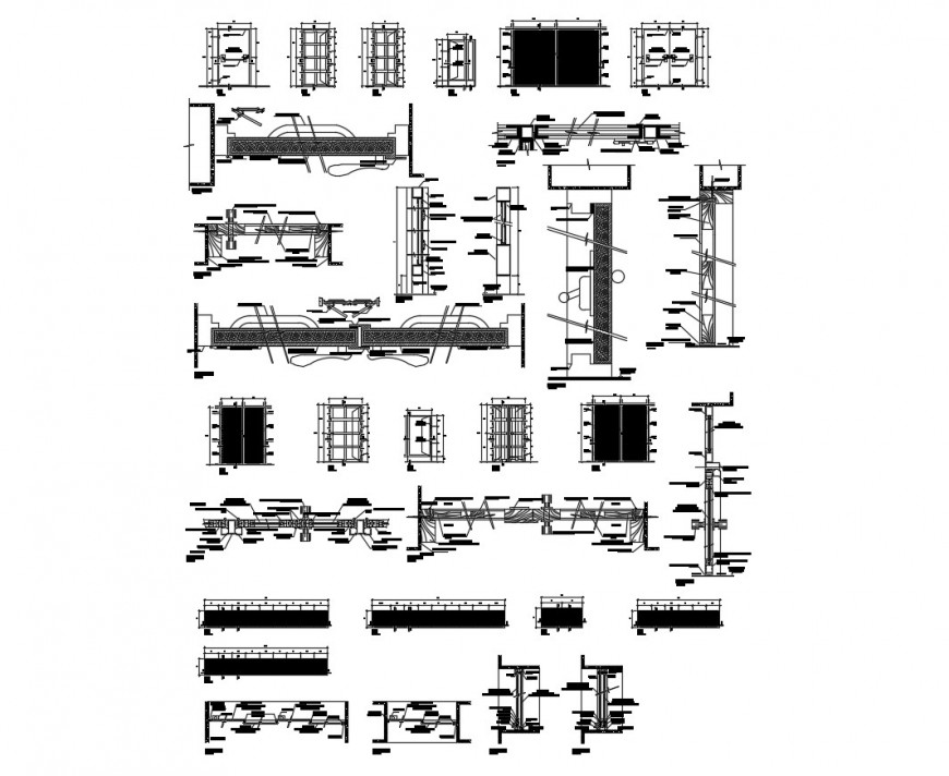 Different construction units and door window blocks 2d view autocad file