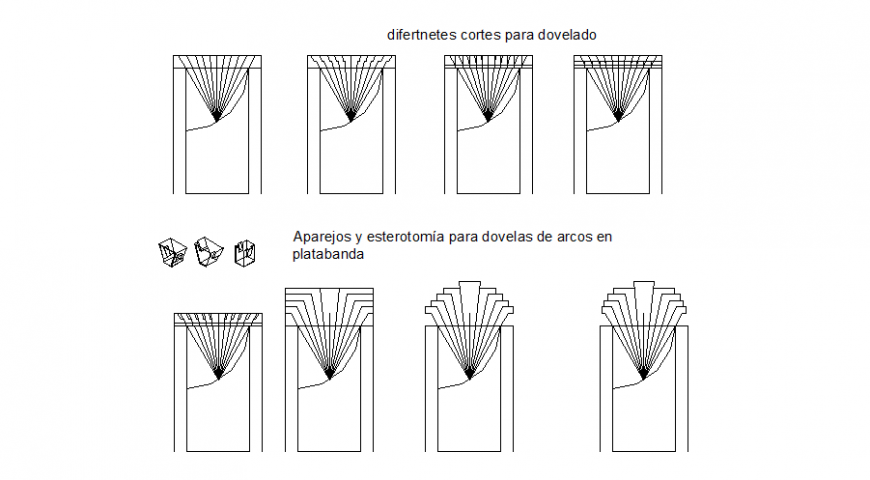 Different cuts for beveling plan detail dwg file