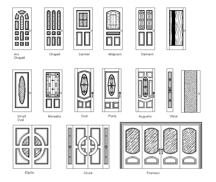Different design of door with single and double door elevation dwg file