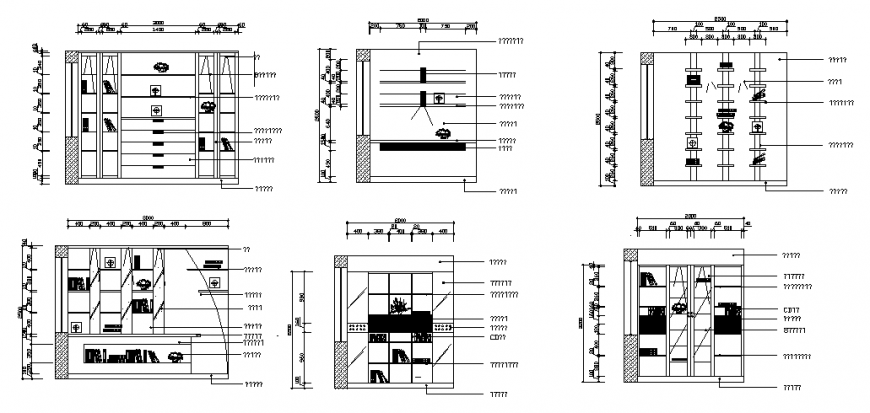 Different design of wall drop elevation detail dwg file