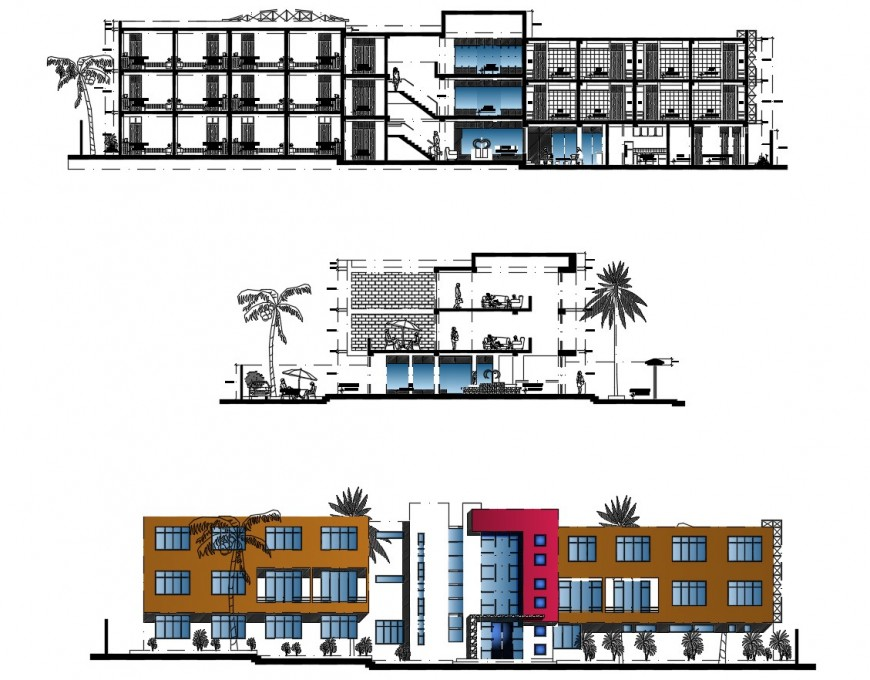 Different elevation of hotel in auto cad software