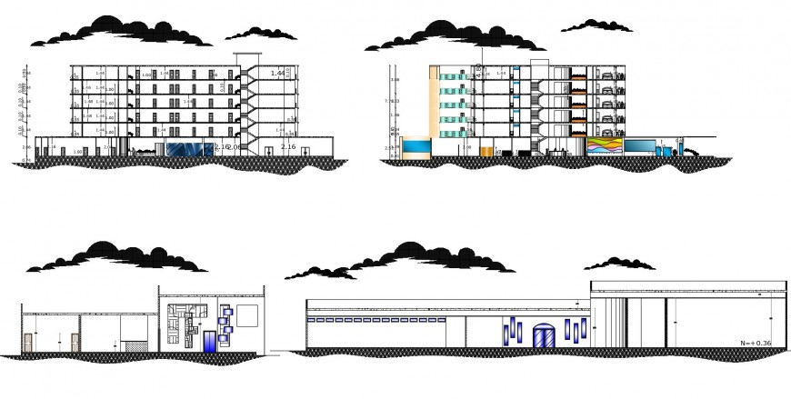 Different elevations of hotel in auto cad software
