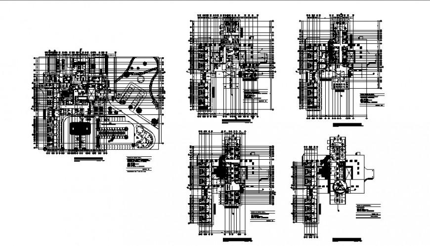 Different floor plan of regional hospital auto cad file
