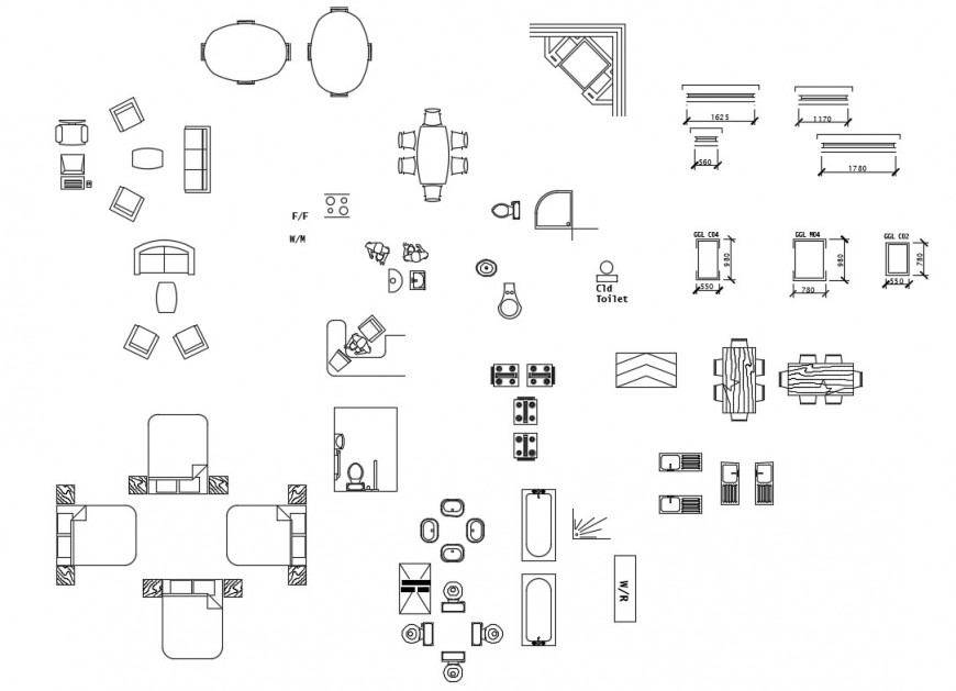 Different furniture and sanitary blocks 2d view autocad file