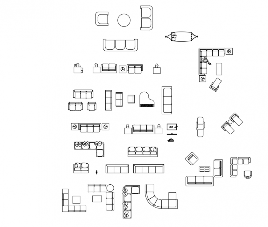 Different furniture block design with sofa detail with plan and elevation dwg file