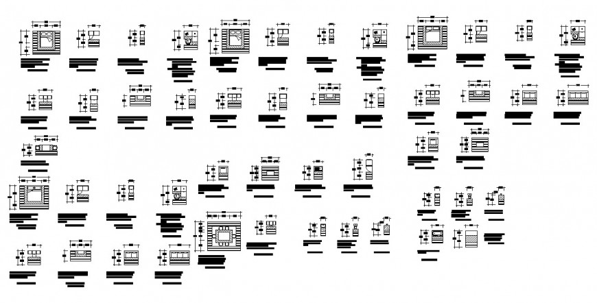 Different furniture blocks 2d view layout file in Autocad format