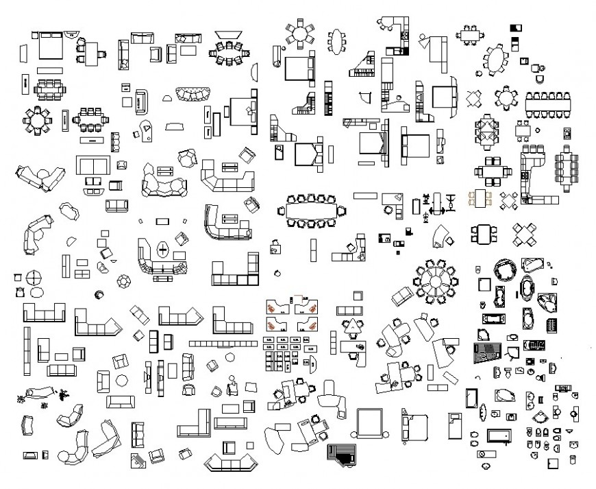 Different furniture units 2d view CAD block layout file in dwg format