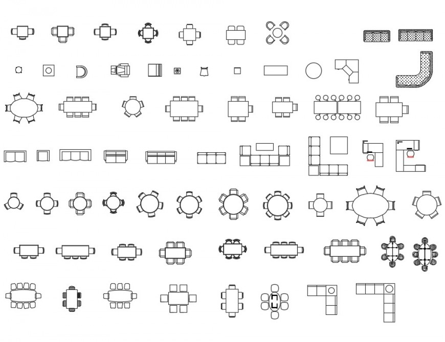 Different furniture units 2d view layout file in dwg format