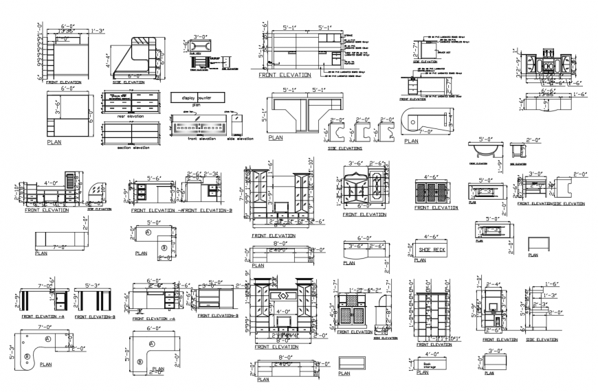 Different furniture units detail 2d view layout file in autocad format