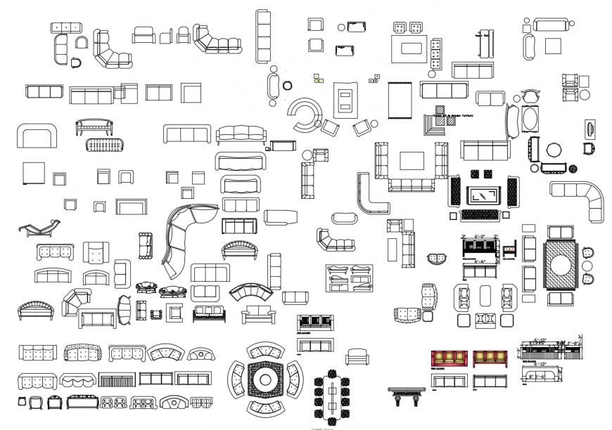 Different housing furniture units detail elevation 2d view autocad file