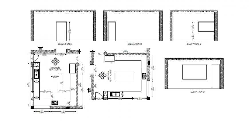 Different kitchen Plan and elevation in AutoCAD file