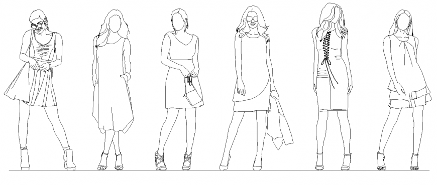 Different models women layout 2d view dwg file