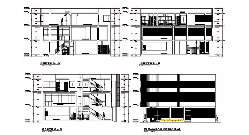 Different section and elevation of hotel in auto cad