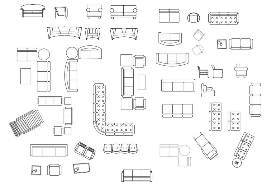 Different type of sofa set blocks detail 2d view elevation autocad file