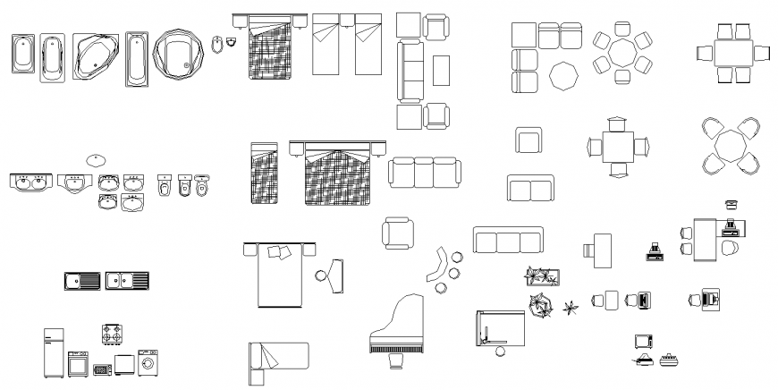 Different types of furniture and sanitary ware drawing in dwg file.