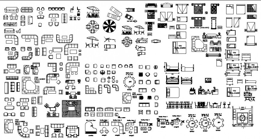 Different types of furniture blocks details and drawings autocad file