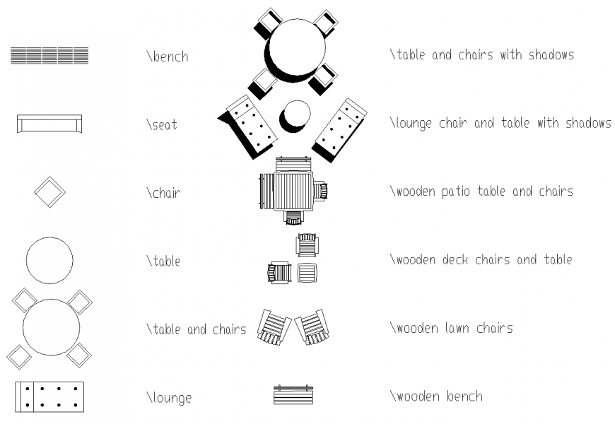 Different types of furniture details in dwg file.