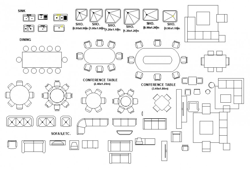 Different types of furniture units 2d view elevation autocad file