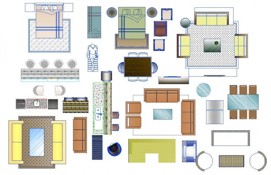 Different types of furniture units 2d view elevation layout file in dwg format