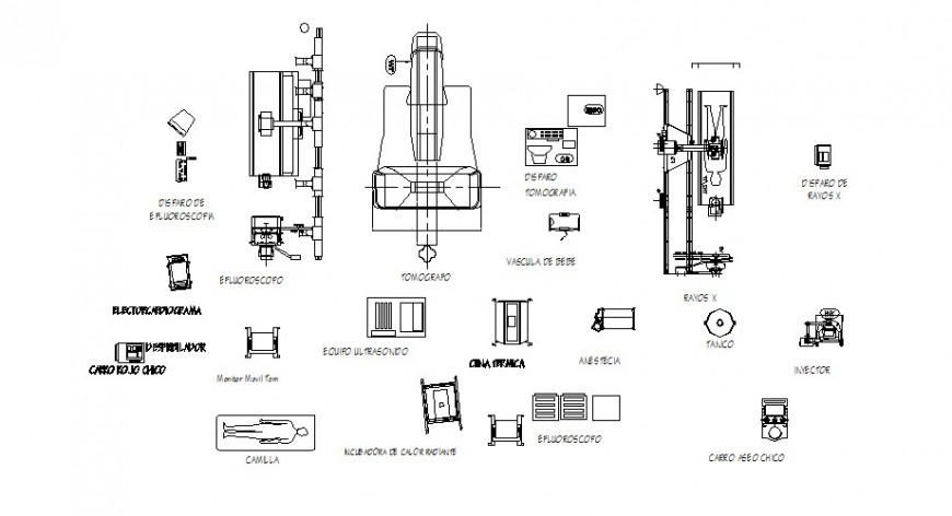 Different types of hospital furniture units drawing in autocad
