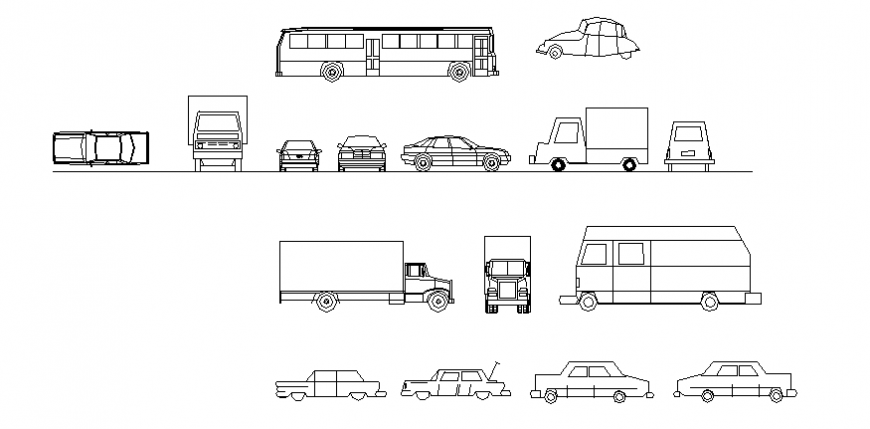 Different types of vehicle block elevation and plan dwg file