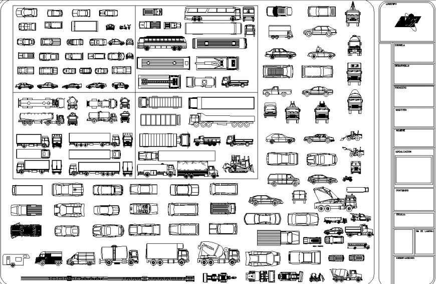 Different types of vehicle cad block in dwg file.