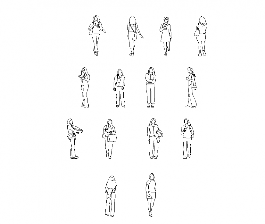Different wearing style block of women in design dwg file