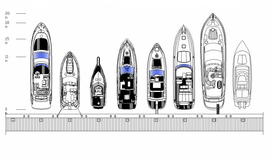 Different yacht detail elevation 2d view layout autocad file