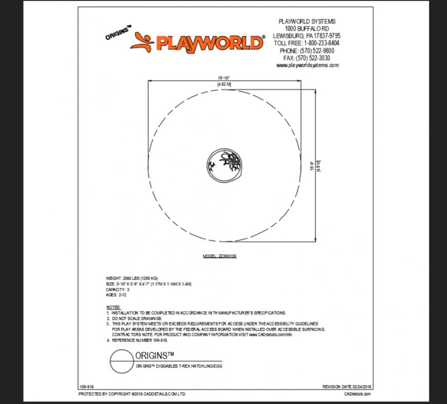 Diggables t-rex hatchling egg play equipment details of theme park dwg file