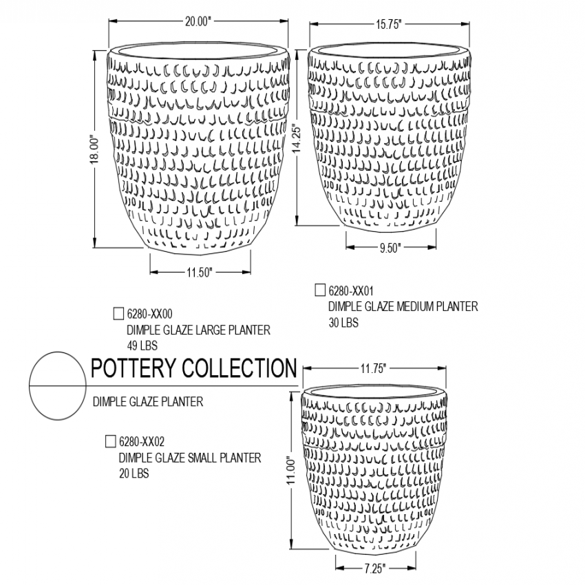 Dimple glaze large pottery collection with different size isometric view dwg file
