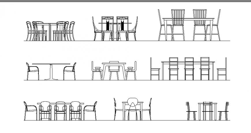 Dining area furniture multiple dining table cad blocks details dwg file